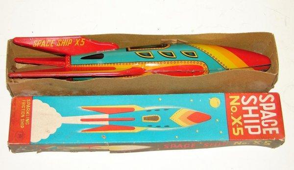 3142: TIN LITHO SPACE SHIP NO. X-5 TOY