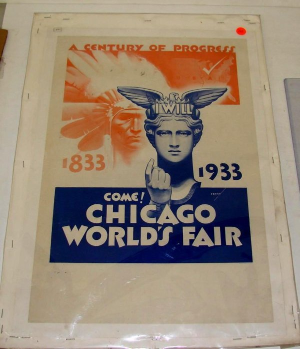 260: 1933 CHICAGO WORLD'S FAIR POSTER G. PETTY