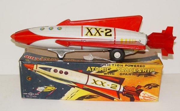 1002: BOXED TIN LITHO FRICTION ATOMIC SPACESHIP