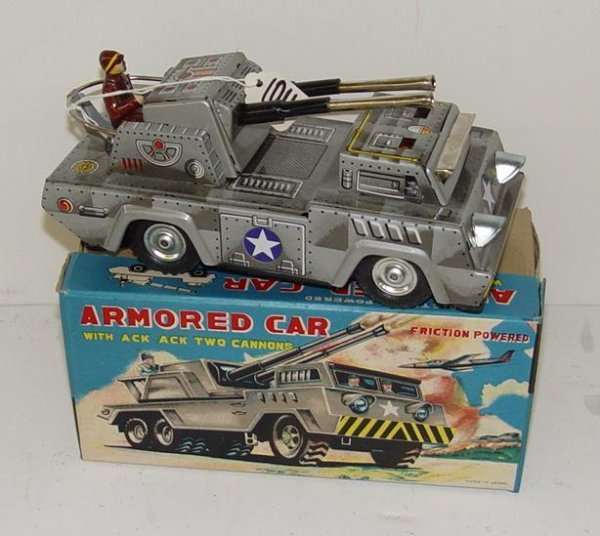 1011: VINTAGE TIN LITHO BOXED ARMORED CAR JAPAN