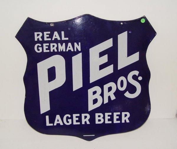 1013: VTG PIEL BROS. LAGER PORCELAIN SHIELD SIGN
