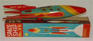 1039 BOXED TIN LITHO SPACE SHIP NO X5 TOY JAPAN