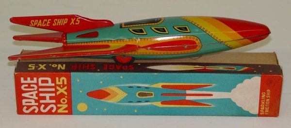 1039: BOXED TIN LITHO SPACE SHIP NO. X-5 TOY JAPAN