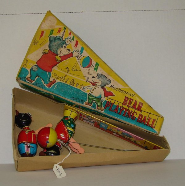 1063: 1950's BOXED TPS BEAR PLAYING BALL