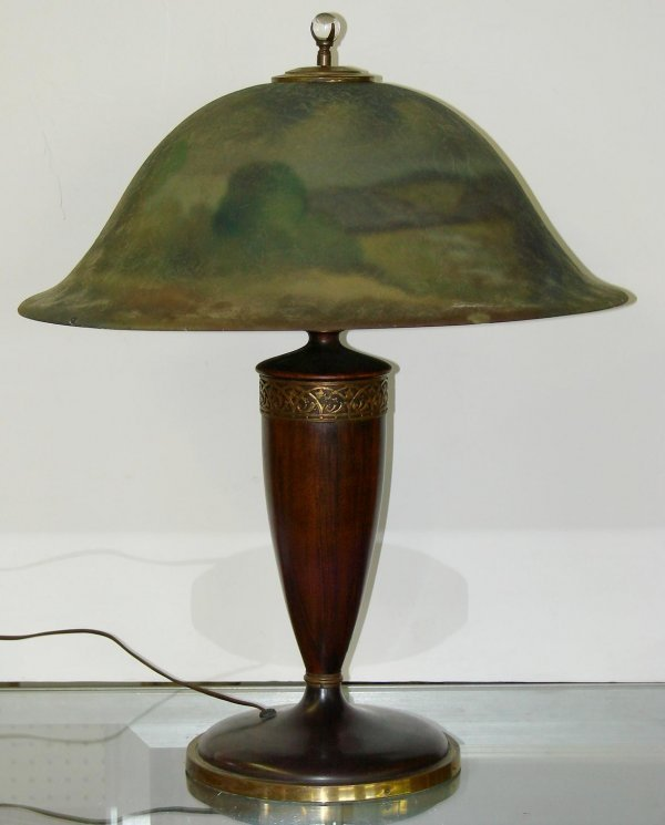 3020: PAIRPOINT REVERSE PAINTED LAMP SIGNED MORLEY