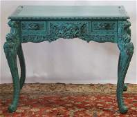 3274: HAND CARVED ORIENTAL WRITING DESK