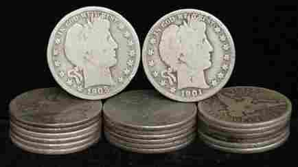 20 BARBER HALF DOLLARS