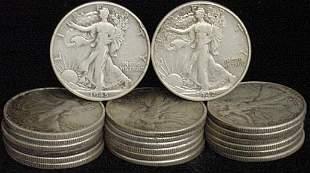 20 WALKING LIBERTY HALF DOLLARS