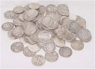 COINS, UNPICKED SILVER HALF DOLLARS