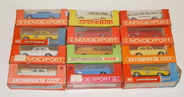 8: LOT OF 12 BOXED RUSSIAN DIECAST CARS MOSKVICH