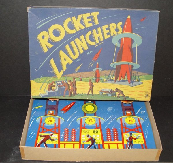 20: BOXED TIN LITHO ROCKET LAUNCHERS SPACE TOY