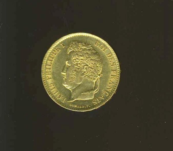 1021: FRANCE LOUIS PHILIPPE. GOLD  COIN.