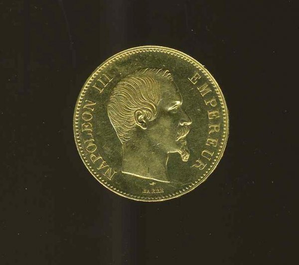 1022: FRANCE. NAPOLEAN III. GOLD  COIN.