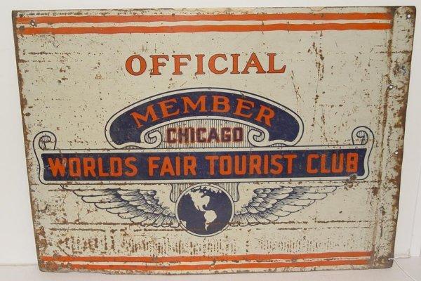2001: CHICAGO WORLD'S FAIR TIN SIGN