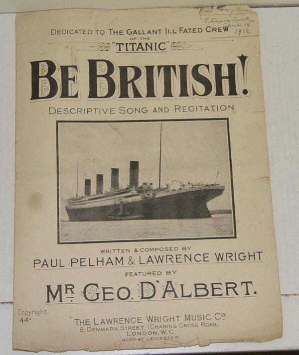 2002: 1912 TITANIC BE BRITISH! SHEET MUSIC