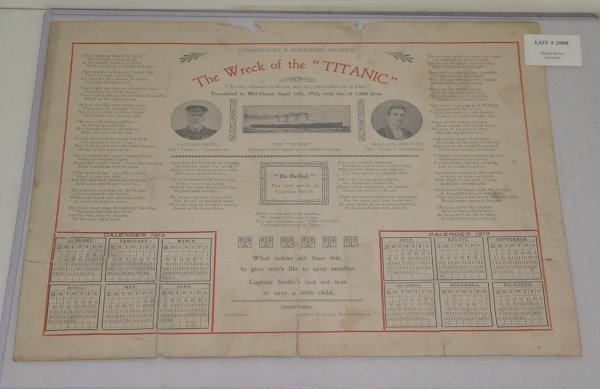 2008: 1913 WRECK OF THE TITANIC CALENDER