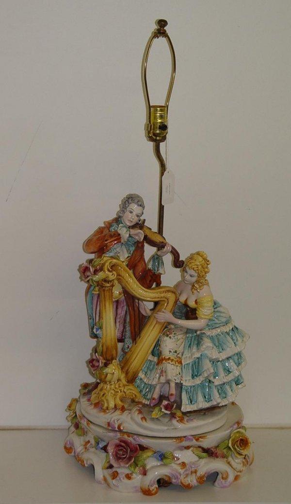 1271: CAPIDIMONTE FIGURAL LAMP SIGNED D. POLOVIATO