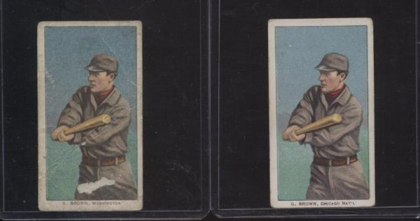 4015: BASEBALL T-206 LOT OF TWO. GEORGE BROWN.