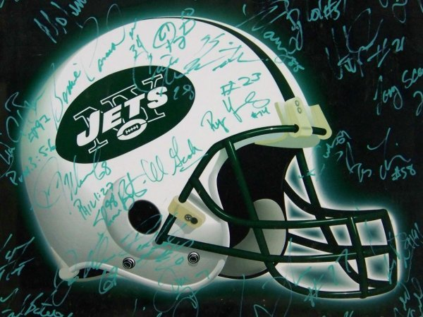 4585: AUTOGRAPHED NY JETS POSTER 30+ SIGNATURES - 6