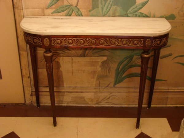2: CONSOLE TABLE w BRONZE MOUNTS and MARBLE TOP