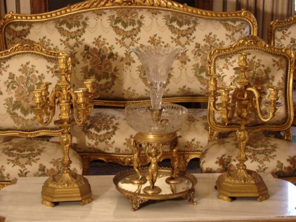 3: DORE BRONZE AND ETCHED CRYSTAL EPERGNE