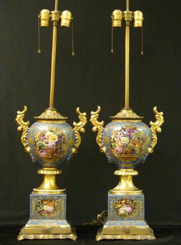 7: PAIR OF OLD PARIS LAMPS OPULENT BRONZE MOUNTS