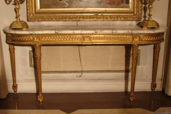 8: VINTAGE MARBLE TOPPED CONSOLE TABLE