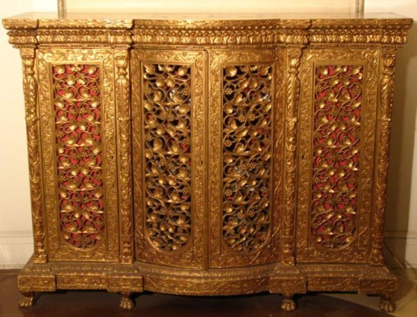 13: HAND CARVED PIERCED GILTWOOD CREDENZA
