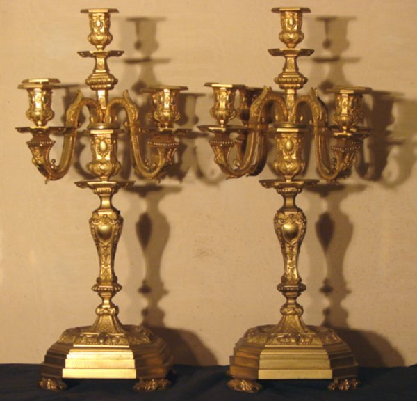 14: PAIR OF CLASSIC DORE BRONZE CANDLEABRAS