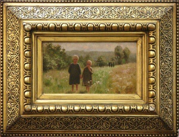 17: EMILE CLAUS OIL FRIENDS IN A FIELD 1885