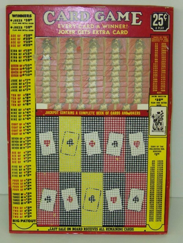 2005: VINTAGE 25 CENT CARD GAME PUNCH BOARD