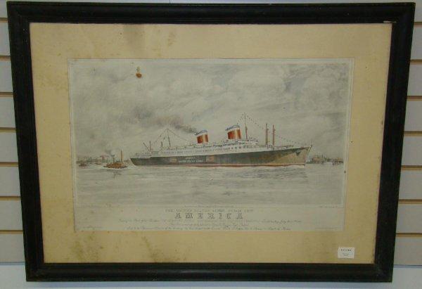 1014: OCEAN LINER FRAMED PRINT. AMERICA.