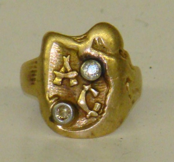 "3395: AL CAPONE 14K DIAMOND MONOGRAM ""AC"" RING"