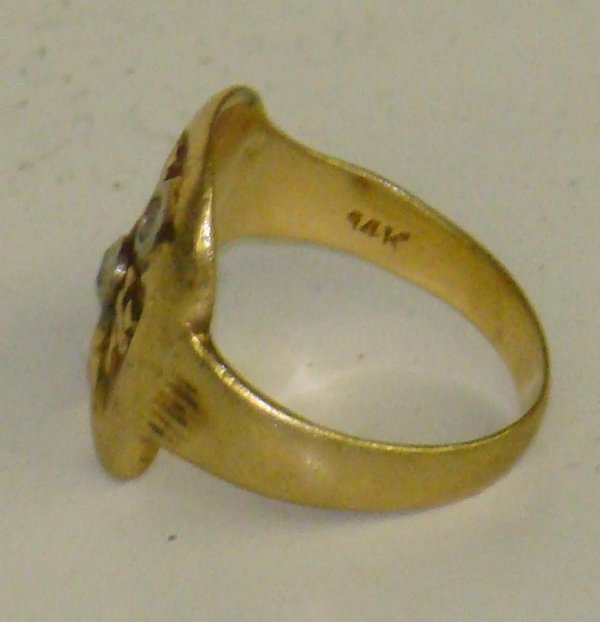 "3395: AL CAPONE 14K DIAMOND MONOGRAM ""AC"" RING - 2"