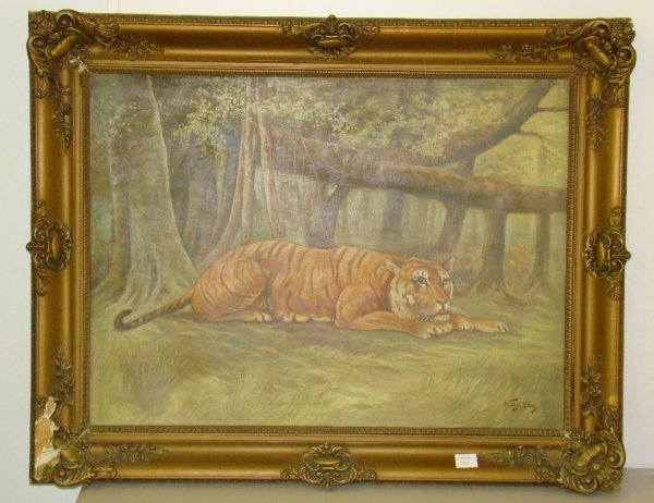 4011: VASTAGH GEZA. TIGER OIL ON CANVAS