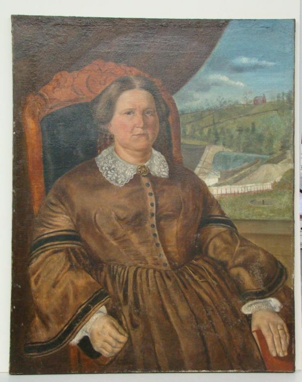 4021: ENGLISH SCHOOL SEATED FEMALE PAINTING