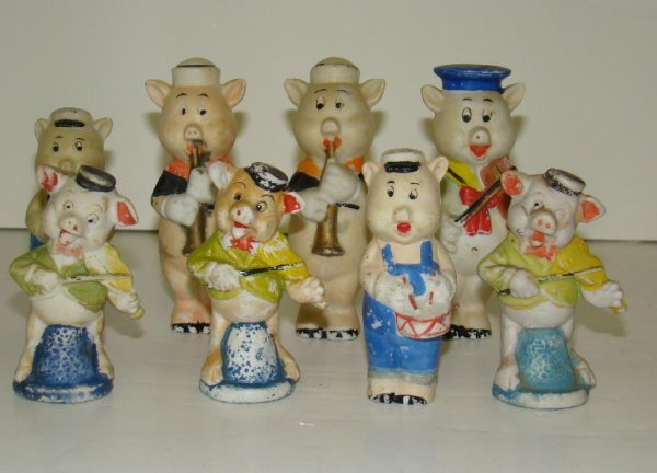 112: DISNEY. HAND PAINTED BISQUE FIGURES