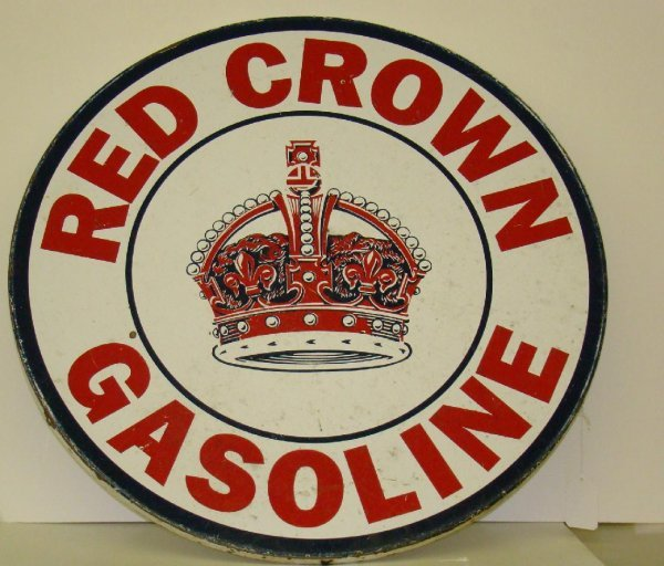 """320: RED CROWN GASOLINE 30"""" TIN SIGN"""