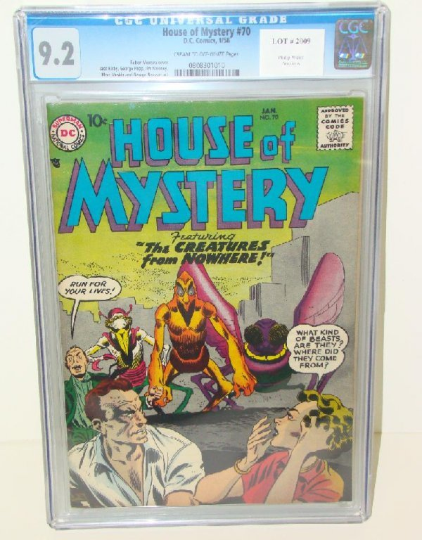 2009: HOUSE OF MYSTERY #70 GRADED 9.2