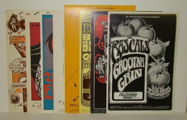 2528: 8 FILLMORE WEST 1966-71 CONCERT POSTERS