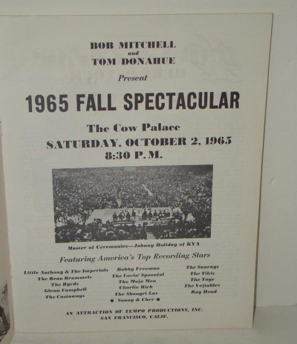 2552: 1965 SAN FRAN CONCERT PROGRAM BYRDS CHER FAB - 2