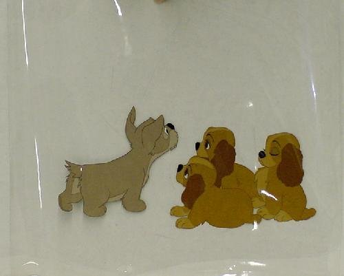 131: DISNEY, 2 CELS FROM LADY AND THE TRAMP