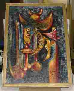 1080: ABSTRACT OIL ON BOARD SIGNED LAM