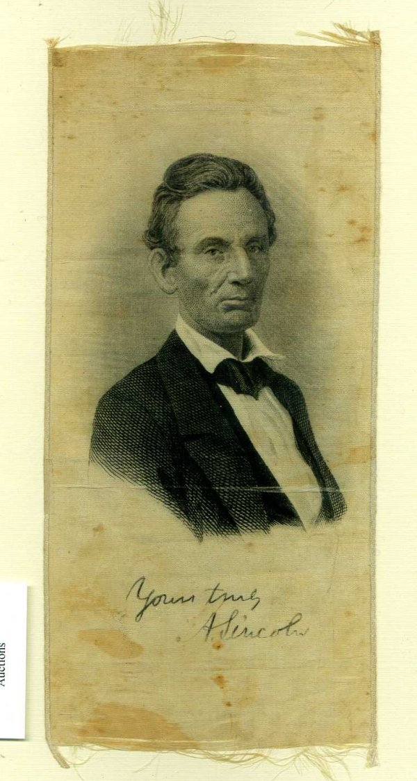 1003: ABRAHAM LINCOLN 1860 PORTRAIT CAMPAIGN RIBBON