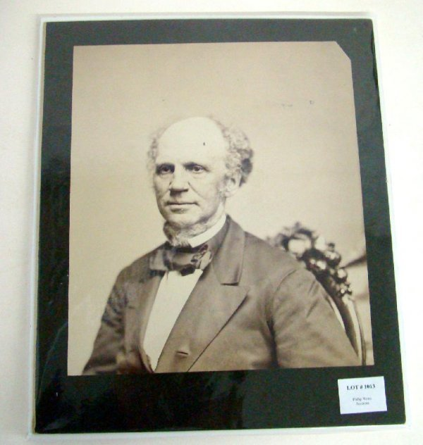 1013: GOV. HORATIO SEYMOUR LARGE ALBUMEN PHOTO