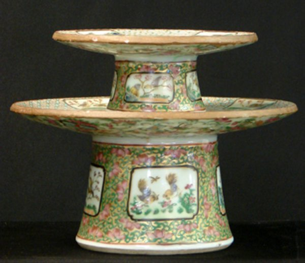 3: LOT OF 2 ROSE MEDALLION CHINA FOOTED SERVINGS