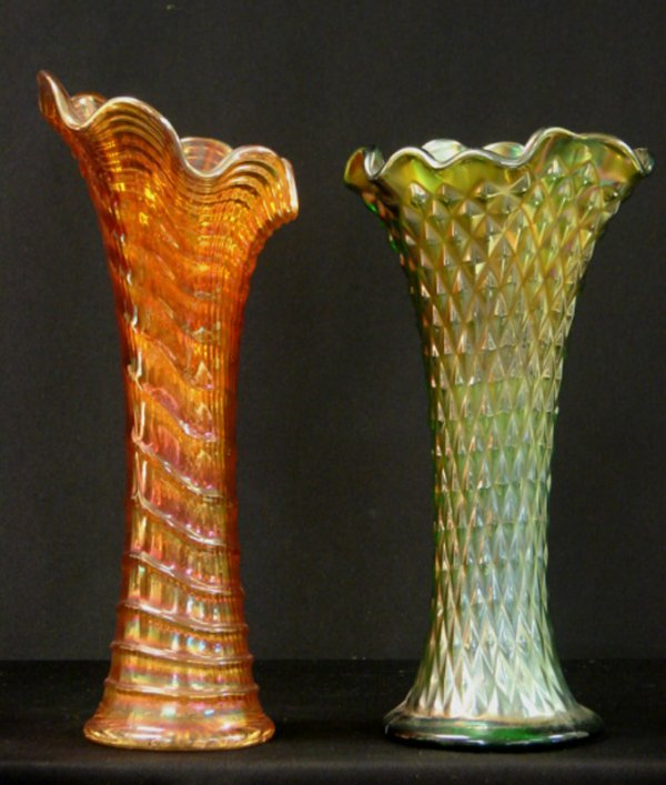 24: LOT OF 2 CARNIVAL GLASS VASES IRIDESCENT GREE
