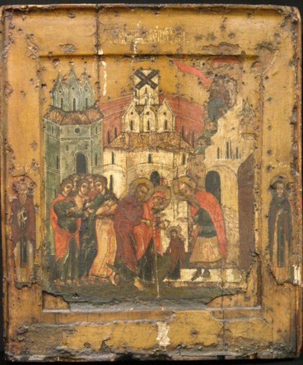135: EARLY RUSSIAN RELIGIOUS PAINTING WOOD PANEL