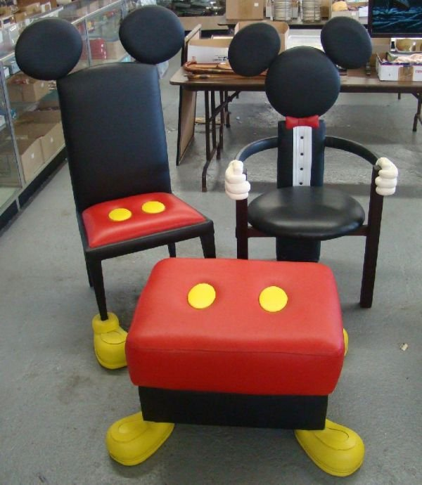 1710G: DISNEY MICKEY MOUSE CHAIRS & OTTOMAN