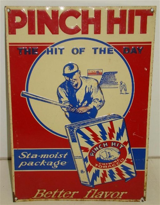 2266: PINCH HIT CHEWING TOBACCO TIN LITHO SIGN